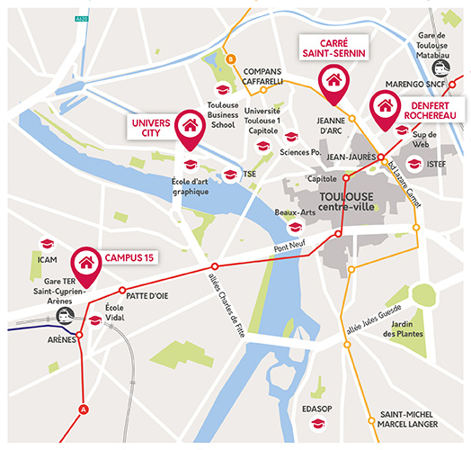 Carte du quartier Rangueil Paul Sabatier proche de notre résidence
